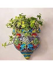 Bomoya Hars Bloempot Handgemaakte Standbeeld Flat-Backed Muur Planter Ambachten Decor Mexicaanse Talavera Stijl voor Thuis Tuinieren Ornamenten