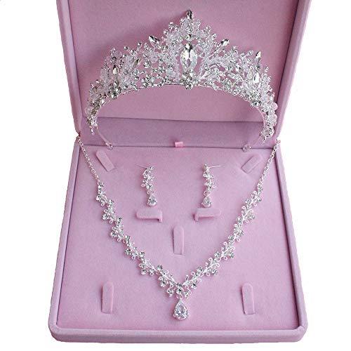 ANLW Brautschmuck-Sets, Hochzeit Braut Prom glänzende Kristall Strass Krone Tiara Stirnband (Silber)