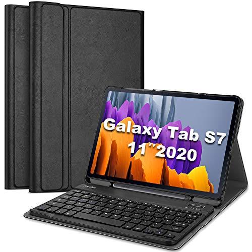 [IngleseUS-Layout] ProCase Custodia Tastiera per Galaxy Tab S7 11 2020[SM-T870/T875/T878], Cover Sottile Leggera Shell Sottile con Tastiera Wireless Staccabile Magnetica –Nero