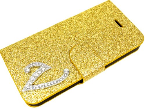 Exklusive-Cad - Cover Glitterata con Aletta, Esclusiva per Sony Xperia Z L36 H, con Chiusura Magnetica V Gold