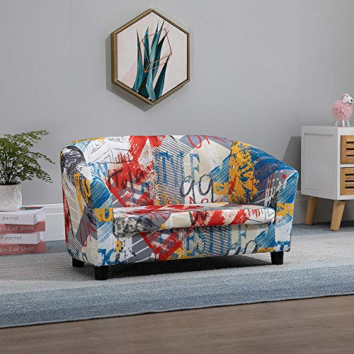 Ansley&HosHo-EU Kids Sofa Chair, Upholstered PU Leather 2-Seater Sofa Couch for Toddlers, Double Seat Children's Sofa, Cushioned Sofa Armchair for Kids Room Playroom Living Room Bedroom