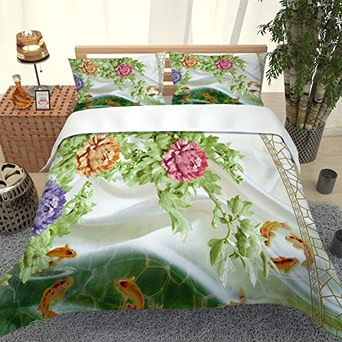 Oukeep European Style Fashion Printed Duvet Cover 3-Piece Set Suitable For Single Bed And Double Bed Bedding Warm And Comfortable Home Decorations