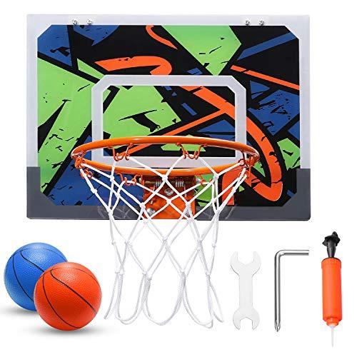 Pro Indoor Mini Canasta de Baloncesto para Niños – 16 x 12 pulgadas – Canasta de Baloncesto para Puerta y Pared – 2 Pelotas de Goma y 1 Bomba de Aire – Regalos para Niños Tikitaka