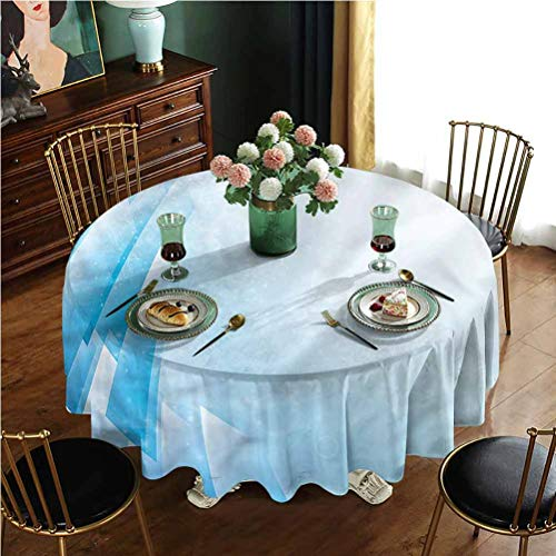 FYLART Round Tablecloths for Circular Table Washable Polyester Ocean Aquatic Design, Round 60 Inch, Great for Buffet Table, Parties, Holiday Dinner & More