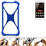 K-S-Trade® Handyhülle Für Huawei Y5 II Dual-SIM Silikon Schutz Hülle Cover Case Bumper Silikoncase TPU Softcase Schutzhülle Smartphone Stoßschutz, Blau (1x),