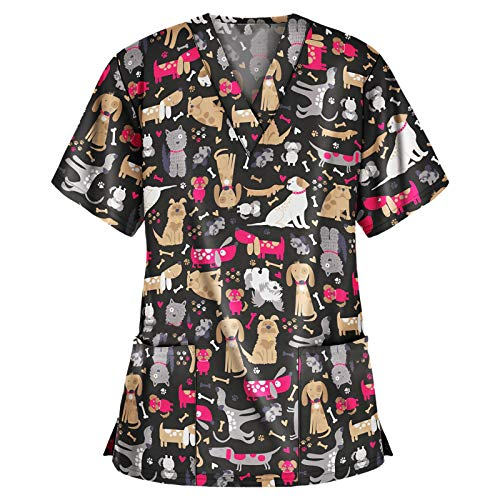 Baralonly Women's Cute Scrub_Top V-Neck Workwear Thanksgiving Christmas Holiday Tops Blouse Uniform
