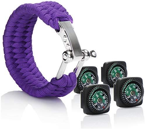 com-four® 5teiliges Set Paracord Survival Armband Lila mit beidseitigen Metall-Verschluss und Kompasse - für Outdoor und Camping
