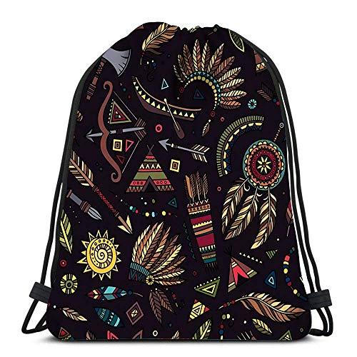 Lmtt Drawstring Bags Backpack Tribal Abstract Native Ethnic Travel Backpacks Tote School Rucksack