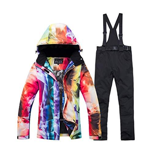 CURT SHARIAH Tuta da Sci da Donna Giacca/Pantaloni Impermeabili Abiti Set di Cappotto e Pantaloni Antivento Stampati Colorati