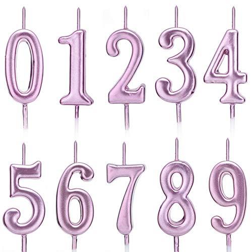 10 velas numéricas para tarta de cumpleaños, decoración de tartas, con números de 0 a 9, tonos brillantes, para fiesta de cumpleaños, celebración de fiestas, dorado/plateado/oro rosa 3