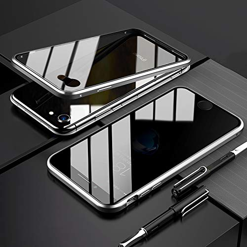 EUDTH Cover iPhone 7/iPhone 8, Custodia Protezione Struttura in Metallo Magnetico Flip Case + Caso Protettive in Vetro Temperato Privacy Protettiva Cover per iPhone 7/iPhone 8 (Argento)