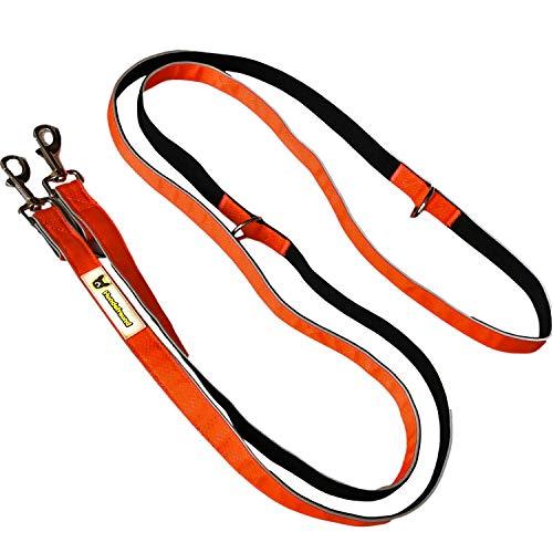 Hundefreund Multifunktionsleine (6 in 1) verstellbare Hundeleine 3m reflektierend mit 3 Ringen für mittlere und große Hunde