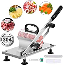 Thickness adjustable Manual Frozen Meat Slicer 0.2mm to 25mm Slices, Meat Cutter with 200 mm Sharp Replacable Steel blade and Bags for Rolling Meat, for Meat Cheese Vegetables Cooking Hot Pot Shabu