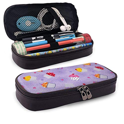 Lawenp Multifunktionspaket Different Tastes of The Cake Leather 3D Nano Printed Pencil Case Pouch Zippered Cute Pen Pencil Case Box School Supply for Students,Big Capacity Stationery Box for Girls B
