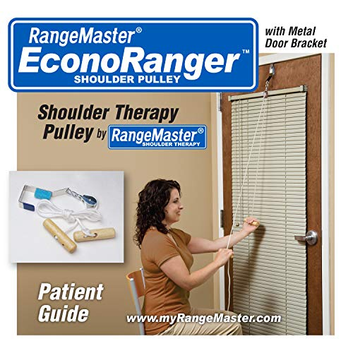 RangeMaster Econo Ranger Shoulder Pulley │ Physical Therapy Exercises │ Aids in Recovery and Rehabilitation │ Increases Mobility │ Wooden Handles for Comfort │ Metal Bracket Door Attachment