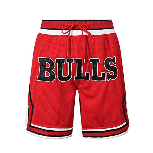 Generics Herren Basketball Shorts # 23 Michael, Chicago Bulls Retro Basketball Shorts, Stickerei, schnelltrocknender, doppelter Stoff, atmungsaktive Casual Shorts-S.