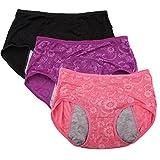YOYI FASHION Women Menstrual Period Briefs Jacquard Easy Clean Panties Multi Pack US Size XXS-XL/8 (US Size XXL/9, Dark,Rouge,Purple)
