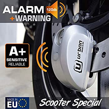 Urban security UR22 Antivol Bloque Disque avec Alarme + Avertissement 120dBA, 6 mm, fabriqué dans l'UE, Universel pour Vélo, Moto, Scooter, Acier INOX, Métal