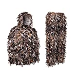 (XX-Large, Brown) - North Mountain Gear Camouflage Premium Guide Series 3D Hunting Leafy Ghillie Suit JACKET Full Front Zipper Hood Front Zip Pockets Pants With Zipper Pockets And Knee Length Zippers