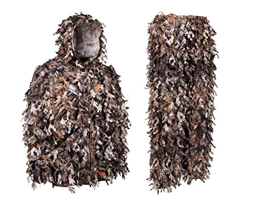 North Mountain Gear Ghillie Suit - Camo Hunting Suit - 3D Leafy Suit - Camouflage Hunting Suit w/Hooded Camo Jacket & Pants - Full Front Zipper, Zippered Pockets - Breathable, Quiet - Brown - XL