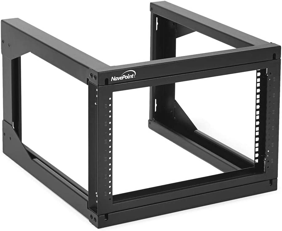 NavePoint 6U Wall Mount Open Frame Network Rack, Swing Out Hinged Gate,24 Inch Depth, Holds Network Servers and AV Equipment, Easy Rear Access to Equipment, Gate Opens 180 Degrees from Either Side