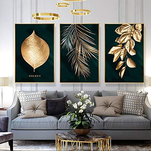 """Slagman Nordic Golden Leaf Abstrakte Leinwand Malerei Wandkunst Poster Und Druck Dekorative 3 Stück Wandbilder Für Wohnzimmer Home Decor 24""""X32""""X3Panels"""