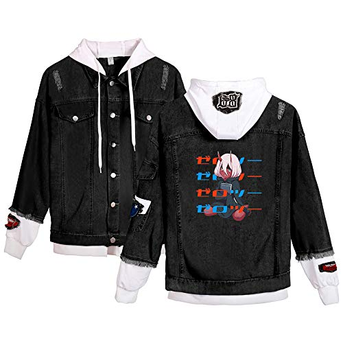 YZJYB Darling IN The FRANXX Herren Denim Jacke Anime Cosplay Outwear Damen Hoodie Atmungsaktiv Gefälschte Zweiteilige Jeansjacke Kapuzenpullover Outwear,Zero Two 1,X~Large