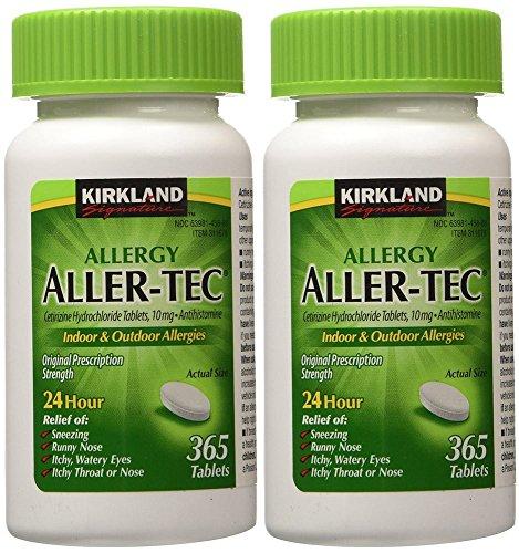 Kirkland Signature funlbh Aller-Tec Cetirizine HCL 10 mg Antihistamine Tablets, 365 Tablets (2 Pack)