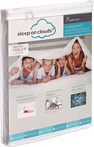 sleep on clouds® Premium Spannbettlaken 180x200cm wasserdicht - Matratzenschoner, weiß - Spannbetttuch venyl-frei, antiallergisch