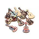 PandaHall-Lot de 100Pcs de Bouton de Guitare en Bois avec Deux Trous DIY Couleur Mixte 36x18x3mm Trou: 2mm Mixtes Aleatoires
