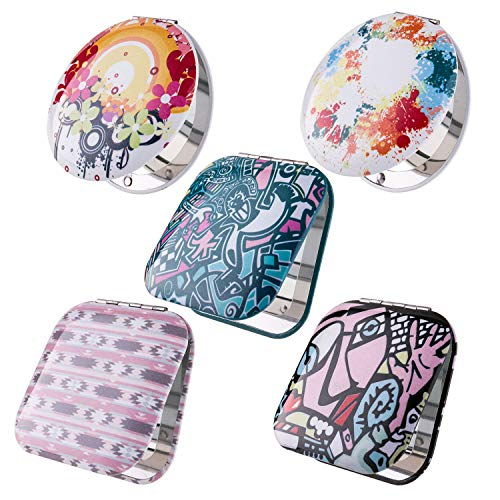 BMC Womens 5 pc Mixed Design Alloy Metal Folding Compact Travel Pocket Beauty Makeup Mirrors - Set 4: Urban Art