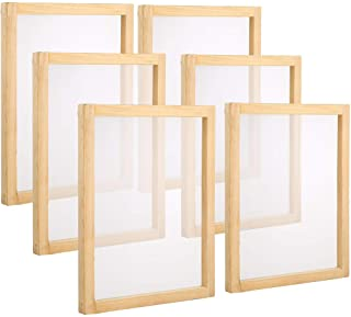Pllieay 6 Pieces Mini Wood Screen Printing Frames 6 x 8 Inch with 110 White Mesh for Screen Printing
