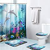Britimes 4 Piece Shower Curtain Sets, Underwater World Dolphins Plants with Non-Slip Rugs, Toilet Lid Cover and Bath Mat, Durable and Waterproof, for Bathroom Decor Set, 72' x 72'