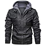 JYG Men's Faux Leather Motorcycle Jacket with Removable Hood Black