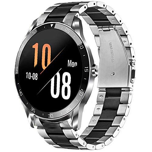 LvBu Armband Kompatibel mit Blackview X1, Classic Edelstahl Uhrenarmband für Blackview X1 Smartwatch (Silber-schwarz)