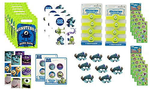 Monsters University Birthday Party Favor Bundle Set includes Loot Bags, Stickers, Tattoos, Erasers, Bracelets, Masks - 52 Pieces