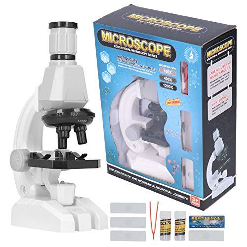 Microscopio 1200X microscopio para estudiantes con imágenes claras, práctico microscopio con LED para niños, para microscopio para niños, niños principiantes (2510)