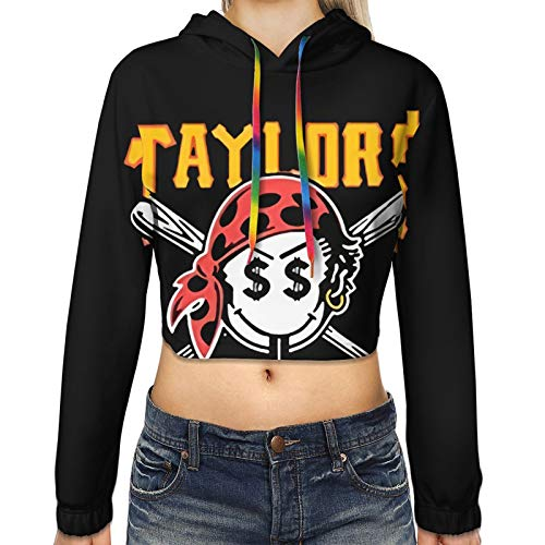 Soutibaowen22 Gang Taylors Smiley Pirate Face Cropped Hoodie Ear Hoodie Sweater for Womens Medium Black