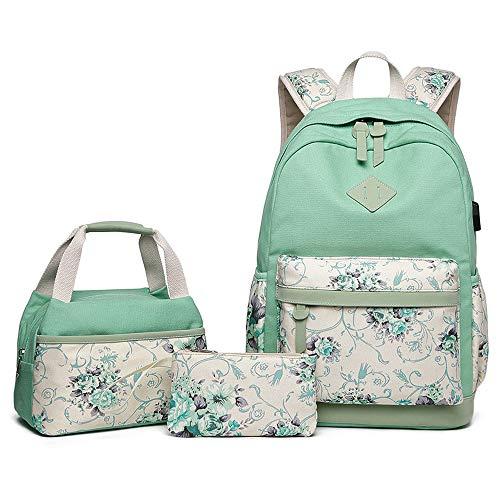 Mochila escolar de lona con caja de almuerzo y bolsos para niñas, adolescentes, secundaria/universitaria, estudiantes de escuela, bolsa de portátil con puerto USB, mochila de viaje para mujer (verde)