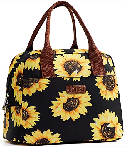 DIIG Lunch Box for Women, Insulated Lunch Bags for Women, Large Cooler Tote For Work, Floral Reusable Snack Bag with Pocket, Sunflower Printing/Gray/Black/White (Sunflower/Black)