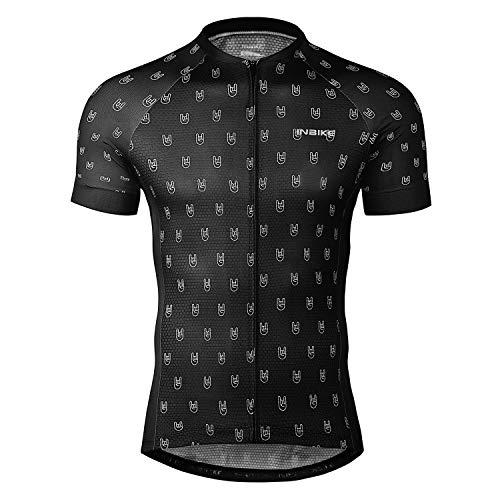 INBIKE Cycling Jersey Men, Short Sleeve Shirt Bike Accessories Running Tops Full Zip Bike Biking Shirt Black Medium