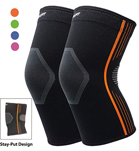 Premium Knee Brace for Arthritis Pain and Support Bursitis Medical-Grade Compression Knee Sleeve for Ultimate Knee Support (Orange, Small 2-Pack)