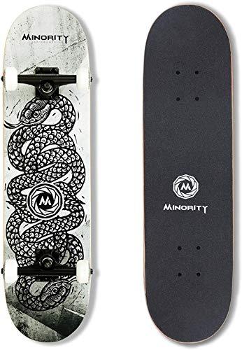 HDFJ Skateboard 32x8 Zoll Komplette Cruiser Skateboard für Kinder Jugendliche Erwachsene, 7-Lagiger Kanadischer Ahorn Double Kick Deck Concave mit All-in-one Skate T-Tool für Anfänger-Schlange