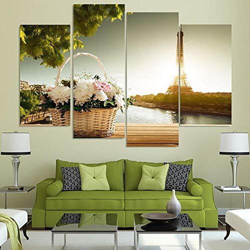 4 Panel Canvas Wall Art Moderne Manden en Eiffeltoren Schilderen Versier Woonkamer Muurdecoratie Modulaire Foto 30X60Cmx2 30X80Cmx2 Geen Frame