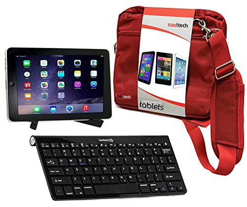 Navitech Konverterpaket Inklusive drahtloser Bluetooth-Tastatur/roter Tasche & tragbarem Standfuß kompatibel mit Medion lifetab X10300 | Medion Lifetab X10311