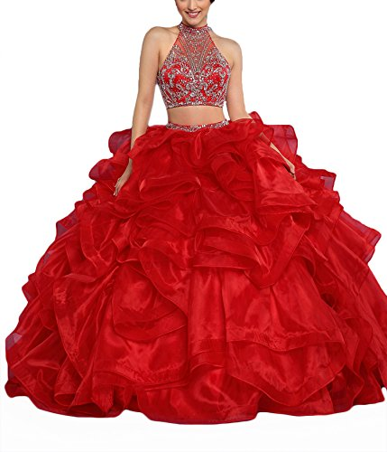 OYISHA Women's Backless Halter Quinceanera Dresses Two Pieces with Jacket Red 10