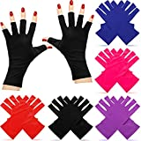 5 Pairs Nail Gloves UV Shield Glove Gel Manicures Fingerless Anti UV Gloves Protect Hand from UV LED Light Lamps Gel Polish Drying Nail Art Mittens (Black, Red, Rose Red, Royal Blue, Purple)
