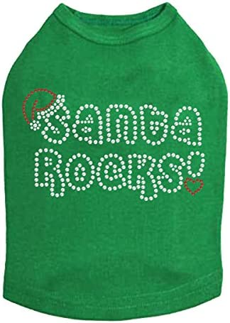 Santa Cheap bargain Rocks - Bling Rhinestone Max 55% OFF Christmas Dog 4XL Shirt Kelly Gr