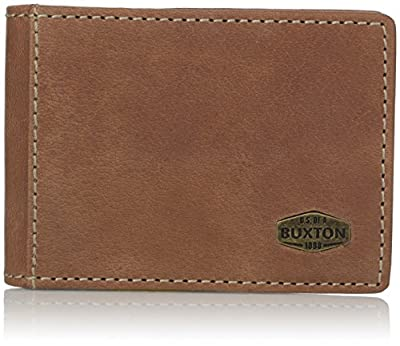 Buxton Men's Expedition RFID Blocking Leather Slimfold With Money Clip, Saddle, One Size