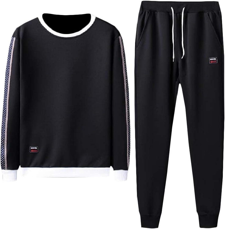 7bb1608a1b Cromoncent-CA Men Sport Sport Sport Workout Sweatshirt Slim Fit Pants 2  Piece Tracksuit Set Black1 M a1384d